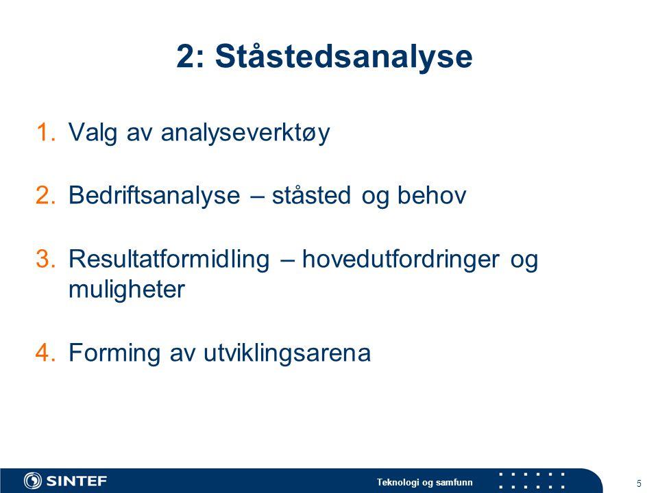 Teknologi og samfunn 5 2: Ståstedsanalyse 1.Valg av analyseverktøy 2.Bedriftsanalyse – ståsted og behov 3.Resultatformidling – hovedutfordringer og mu