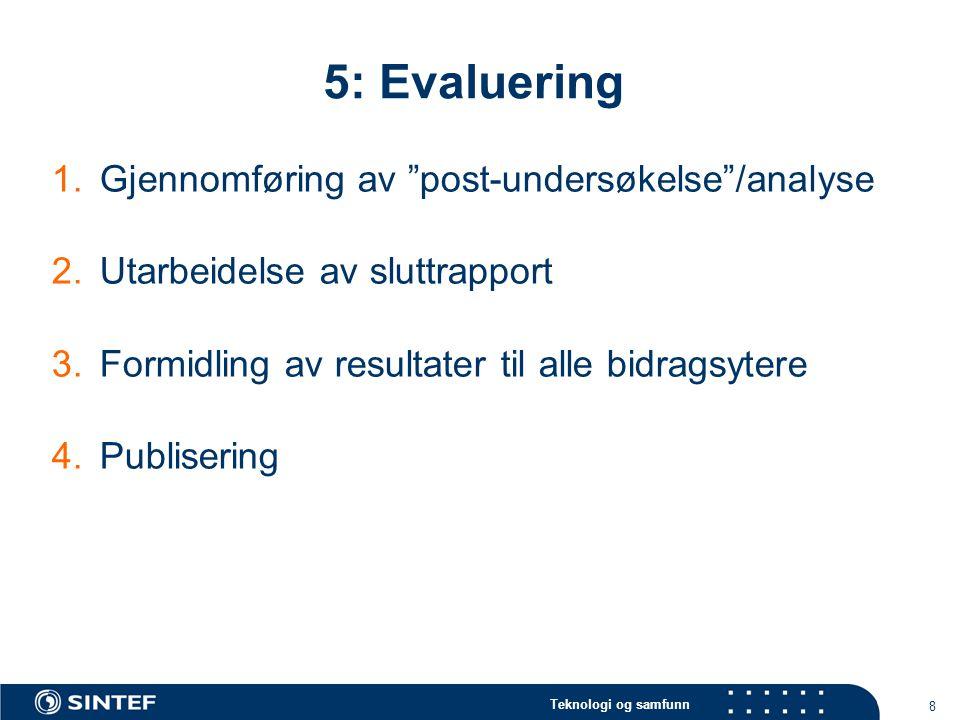"""Teknologi og samfunn 8 5: Evaluering 1.Gjennomføring av """"post-undersøkelse""""/analyse 2.Utarbeidelse av sluttrapport 3.Formidling av resultater til alle"""