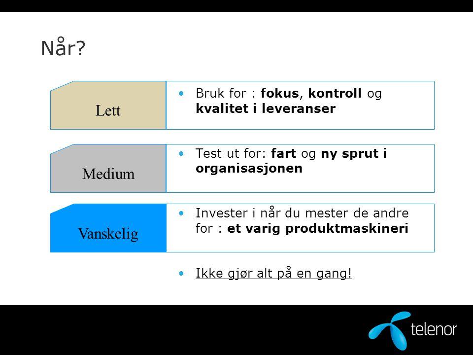 Når? Bruk for : fokus, kontroll og kvalitet i leveranser Test ut for: fart og ny sprut i organisasjonen Invester i når du mester de andre for : et var