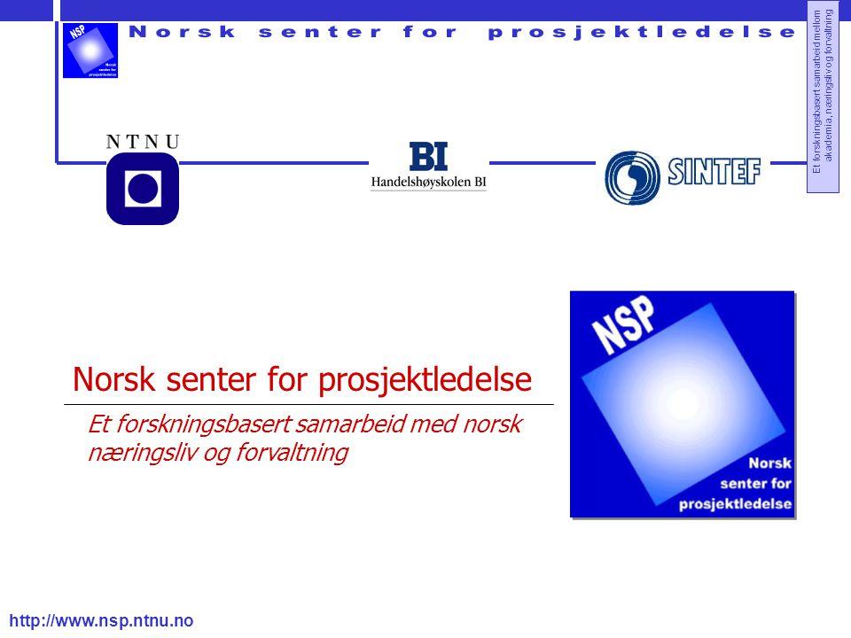 http://www.nsp.ntnu.no Et forskningsbasert samarbeid mellom akademia, næringsliv og forvaltning Norsk senter for prosjektledelse Et forskningsbasert samarbeid med norsk næringsliv og forvaltning