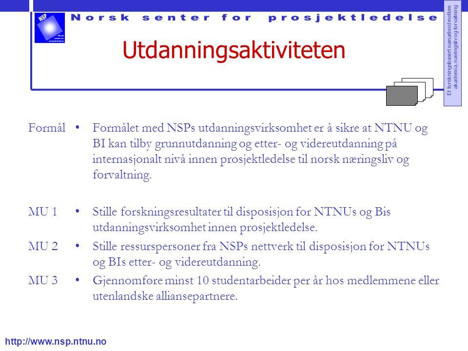 http://www.nsp.ntnu.no Et forskningsbasert samarbeid mellom akademia, næringsliv og forvaltning Utdanningsaktiviteten Formål MU 1 MU 2 MU 3 Formålet med NSPs utdanningsvirksomhet er å sikre at NTNU og BI kan tilby grunnutdanning og etter- og videreutdanning på internasjonalt nivå innen prosjektledelse til norsk næringsliv og forvaltning.