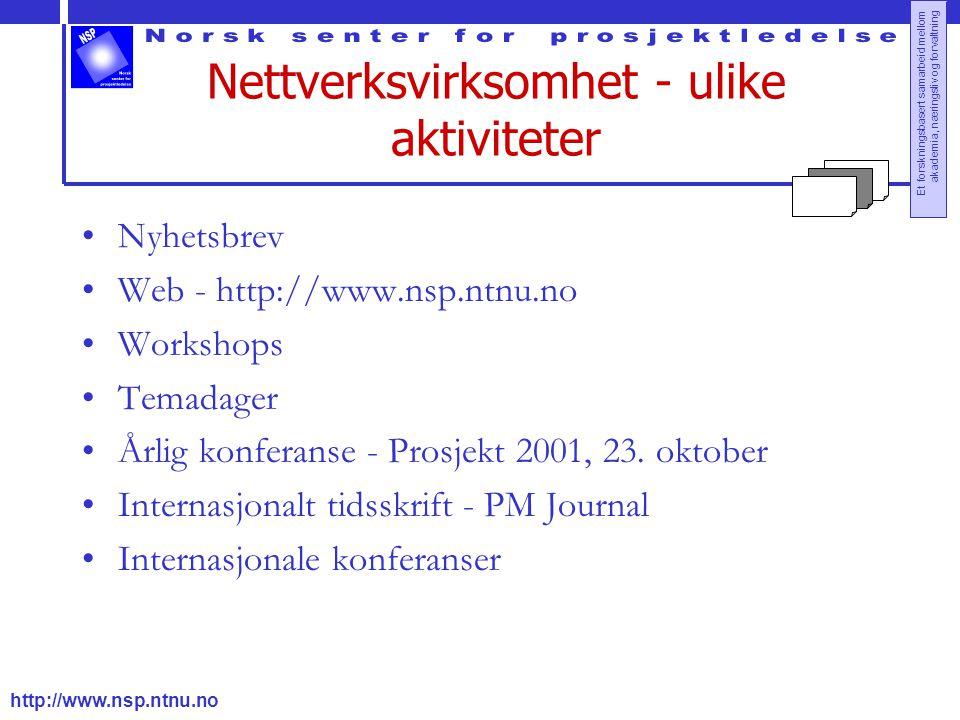 http://www.nsp.ntnu.no Et forskningsbasert samarbeid mellom akademia, næringsliv og forvaltning Nettverksvirksomhet - ulike aktiviteter Nyhetsbrev Web - http://www.nsp.ntnu.no Workshops Temadager Årlig konferanse - Prosjekt 2001, 23.