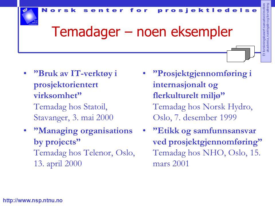 http://www.nsp.ntnu.no Et forskningsbasert samarbeid mellom akademia, næringsliv og forvaltning Temadager – noen eksempler Bruk av IT-verktøy i prosjektorientert virksomhet Temadag hos Statoil, Stavanger, 3.