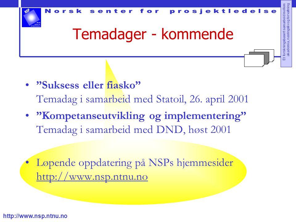 http://www.nsp.ntnu.no Et forskningsbasert samarbeid mellom akademia, næringsliv og forvaltning Temadager - kommende Suksess eller fiasko Temadag i samarbeid med Statoil, 26.