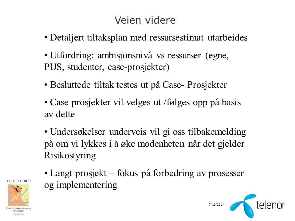 7/15/2014 Veien videre Detaljert tiltaksplan med ressursestimat utarbeides Utfordring: ambisjonsnivå vs ressurser (egne, PUS, studenter, case-prosjekt