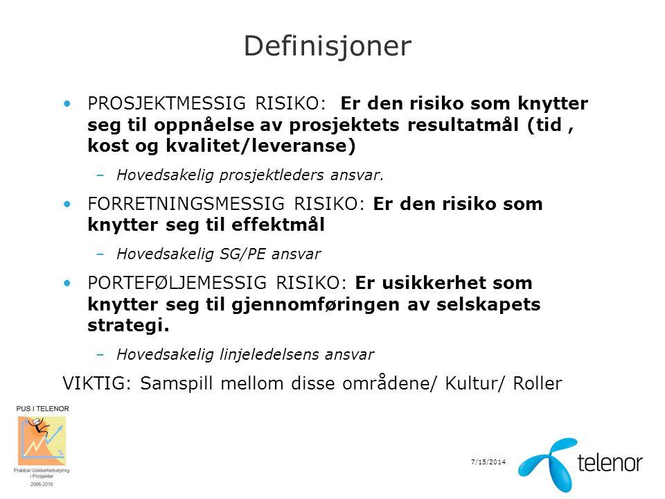 7/15/2014 Definisjoner PROSJEKTMESSIG RISIKO: Er den risiko som knytter seg til oppnåelse av prosjektets resultatmål (tid, kost og kvalitet/leveranse)