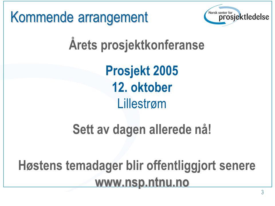 www.nsp.ntnu.no 3 Kommende arrangement Årets prosjektkonferanse Prosjekt 2005 12.