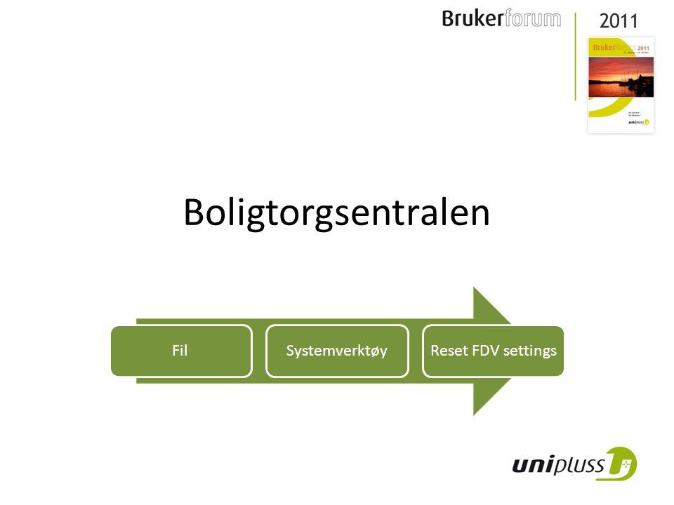 Boligtorgsentralen FilSystemverktøyReset FDV settings