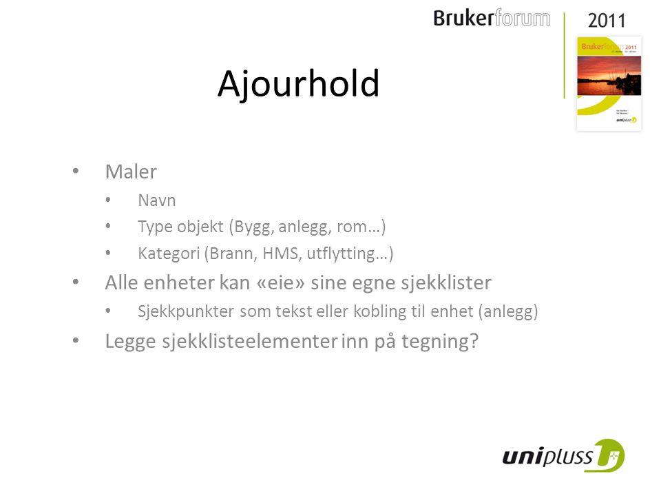 Ajourhold Maler Navn Type objekt (Bygg, anlegg, rom…) Kategori (Brann, HMS, utflytting…) Alle enheter kan «eie» sine egne sjekklister Sjekkpunkter som