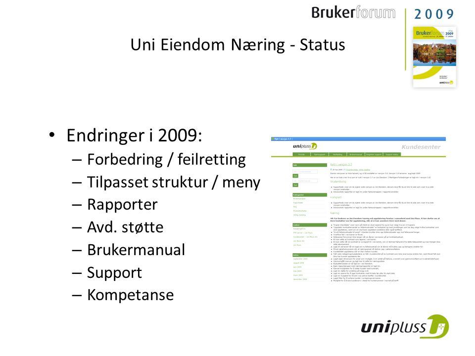 Endringer i 2009: – Forbedring / feilretting – Tilpasset struktur / meny – Rapporter – Avd.