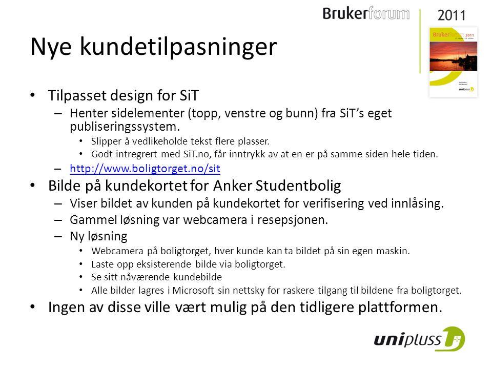 Nye kundetilpasninger Tilpasset design for SiT – Henter sidelementer (topp, venstre og bunn) fra SiT's eget publiseringssystem.