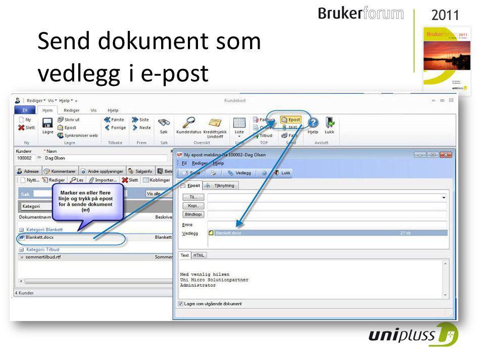 Send dokument som vedlegg i e-post