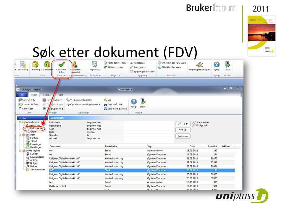 Søk etter dokument (FDV)