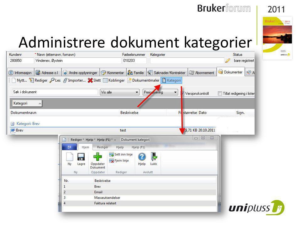 Administrere dokument kategorier