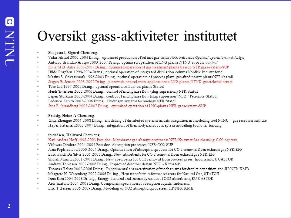 2 Oversikt gass-aktiviteter instituttet Skogestad, Sigurd Chem.eng. Vidar Alstad 2000-2004 Dr.ing., optimised production of oil and gas fields NFR Pet