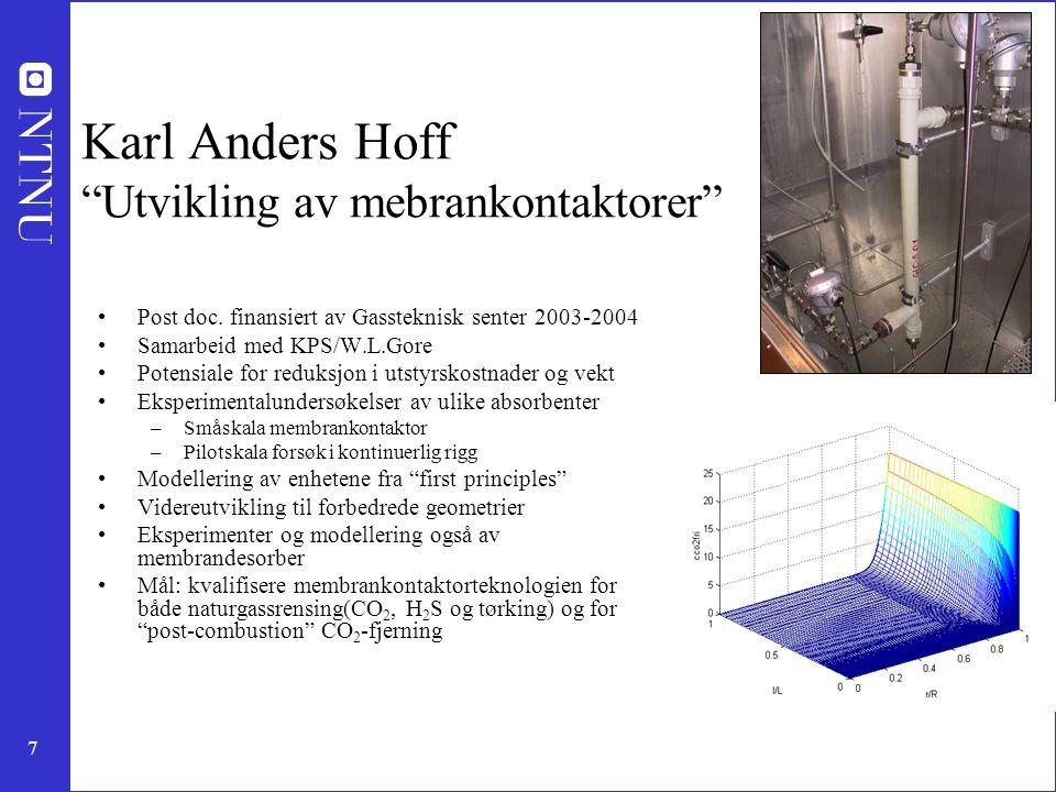 """7 Karl Anders Hoff """"Utvikling av mebrankontaktorer"""" Post doc. finansiert av Gassteknisk senter 2003-2004 Samarbeid med KPS/W.L.Gore Potensiale for red"""