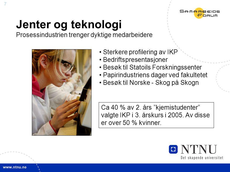 7 Jenter og teknologi Prosessindustrien trenger dyktige medarbeidere Sterkere profilering av IKP Bedriftspresentasjoner Besøk til Statoils Forskningssenter Papirindustriens dager ved fakultetet Besøk til Norske - Skog på Skogn Ca 40 % av 2.