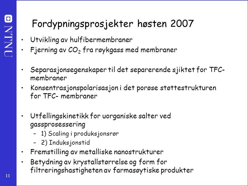 11 Fordypningsprosjekter høsten 2007 Utvikling av hulfibermembraner Fjerning av CO 2 fra røykgass med membraner Separasjonsegenskaper til det separere