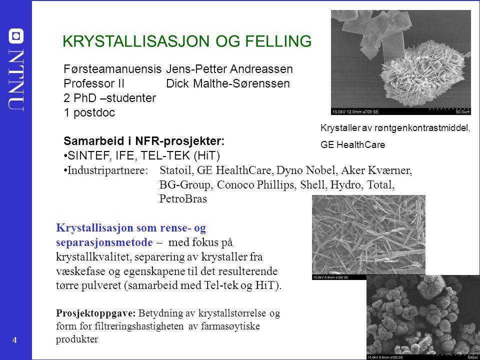 4 KRYSTALLISASJON OG FELLING Førsteamanuensis Jens-Petter Andreassen Professor II Dick Malthe-Sørenssen 2 PhD –studenter 1 postdoc Samarbeid i NFR-pro