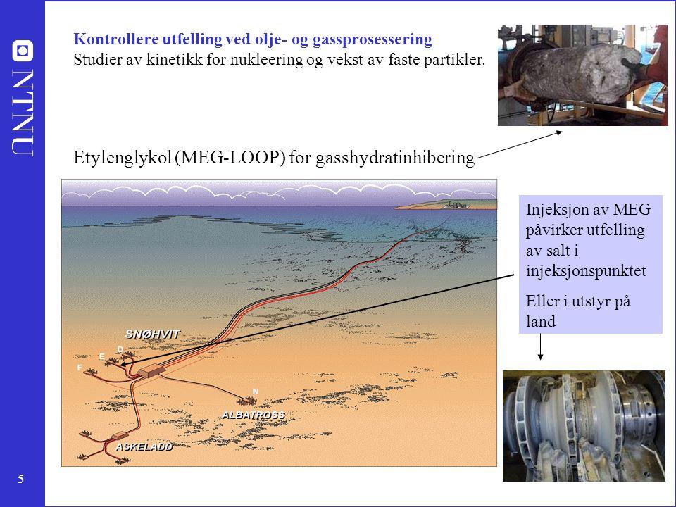 5 Kontrollere utfelling ved olje- og gassprosessering Studier av kinetikk for nukleering og vekst av faste partikler. Etylenglykol (MEG-LOOP) for gass