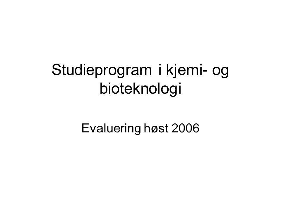 Studieprogram i kjemi- og bioteknologi Evaluering høst 2006