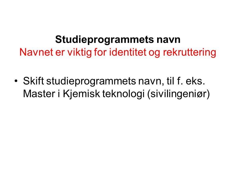 Studieprogrammets navn Navnet er viktig for identitet og rekruttering Skift studieprogrammets navn, til f.