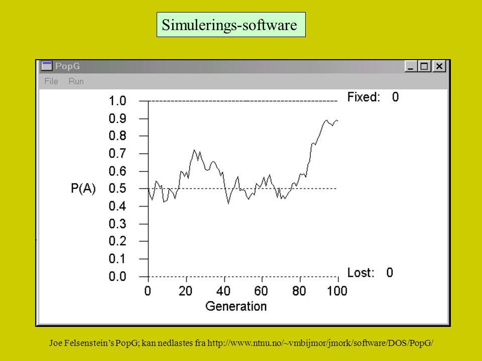 Simulerings-software Joe Felsenstein's PopG; kan nedlastes fra http://www.ntnu.no/~vmbijmor/jmork/software/DOS/PopG/