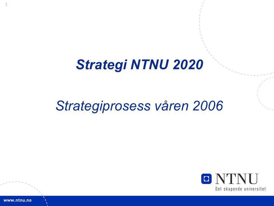 2 Visjon, verdier, rolle Mål og ambisjoner for NTNU og fakultetene 2007 2010 2020 NTNU internasjonalt fremragende 2020 1