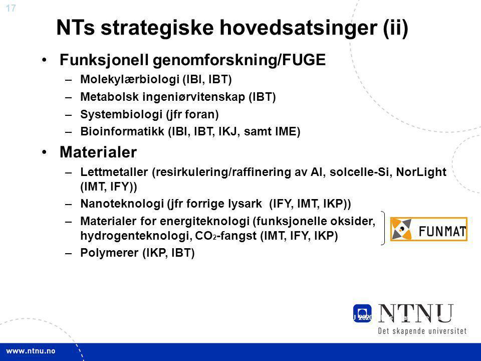17 Funksjonell genomforskning/FUGE –Molekylærbiologi (IBI, IBT) –Metabolsk ingeniørvitenskap (IBT) –Systembiologi (jfr foran) –Bioinformatikk (IBI, IB