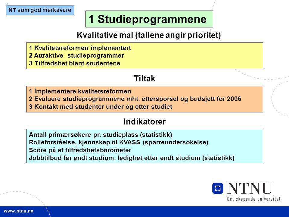 8 Kvalitative mål (tallene angir prioritet) 1 Kvalitetsreformen implementert 2 Attraktive studieprogrammer 3 Tilfredshet blant studentene 1 Studieprog