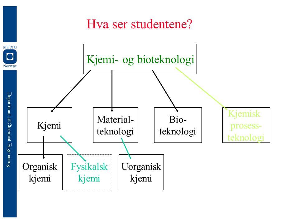 Department of Chemical Engineering Hva ser studentene? Kjemi- og bioteknologi Kjemi Material- teknologi Bio- teknologi Kjemisk prosess- teknologi Orga