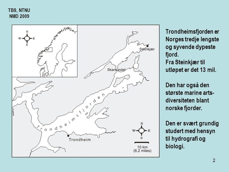 2 TBS, NTNU NMD 2009 Trondheimsfjorden er Norges tredje lengste og syvende dypeste fjord.
