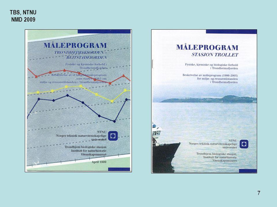 17 Hva er målt, samlet inn Temperatur Klorinitet, Konduktivitet Oppløst oksygen ml /l Seccidyp Planteplankton Zooplankton