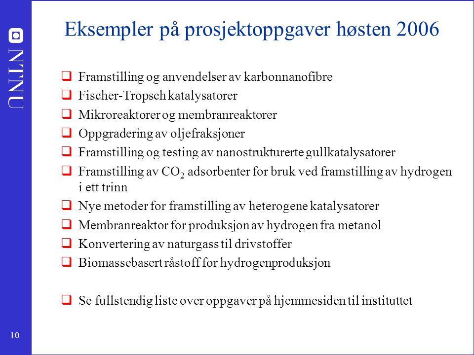 10 Eksempler på prosjektoppgaver høsten 2006  Framstilling og anvendelser av karbonnanofibre  Fischer-Tropsch katalysatorer  Mikroreaktorer og memb
