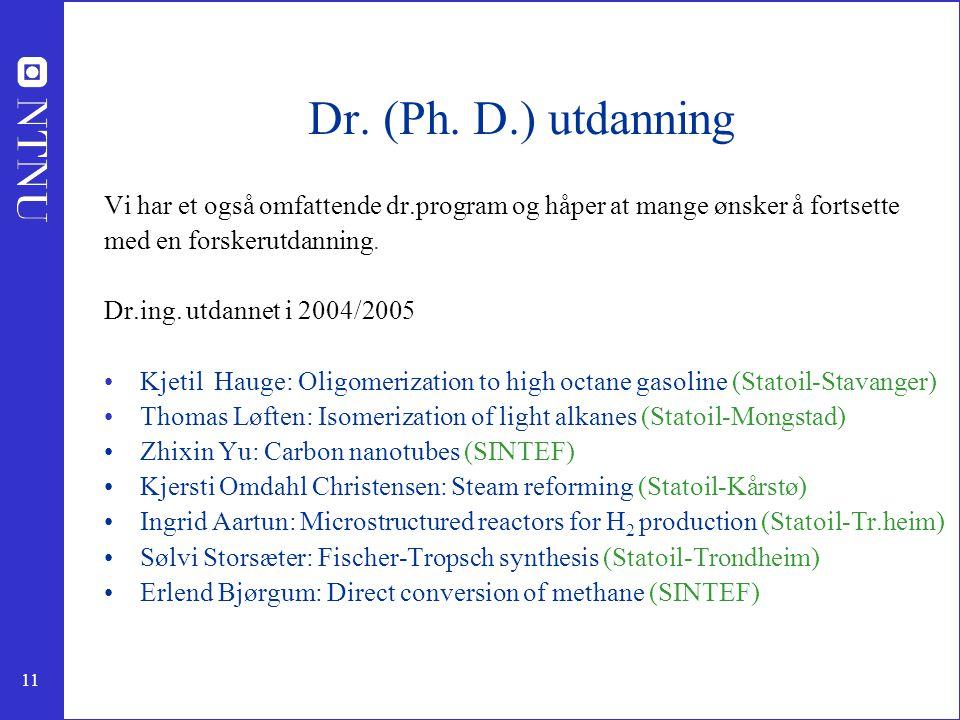 11 Dr. (Ph. D.) utdanning Vi har et også omfattende dr.program og håper at mange ønsker å fortsette med en forskerutdanning. Dr.ing. utdannet i 2004/2
