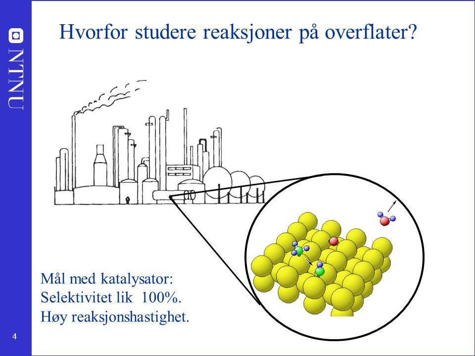 4 Hvorfor studere reaksjoner på overflater? Mål med katalysator: Selektivitet lik 100%. Høy reaksjonshastighet.