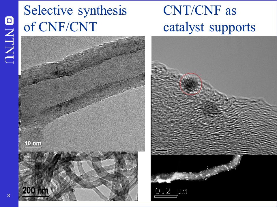 8 Selective synthesis of CNF/CNT CNT/CNF as catalyst supports Pt/CNF