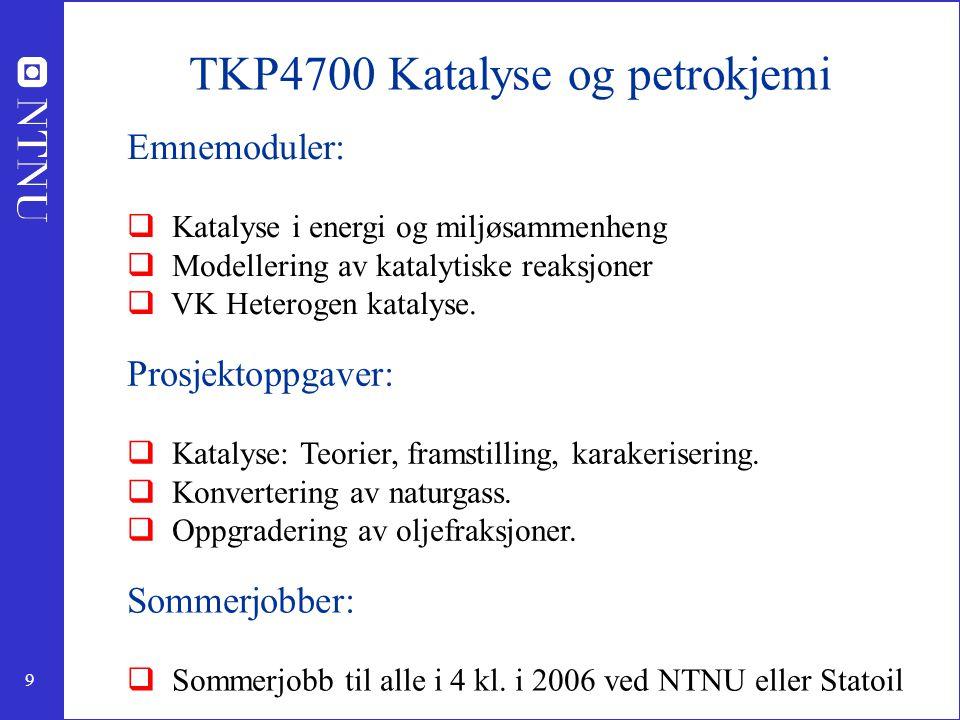 9 TKP4700 Katalyse og petrokjemi Emnemoduler:  Katalyse i energi og miljøsammenheng  Modellering av katalytiske reaksjoner  VK Heterogen katalyse.