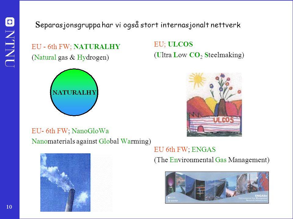 10 s eparasjonsgruppa har vi også stort internasjonalt nettverk EU - 6th FW; NATURALHY (Natural gas & Hydrogen) EU- 6th FW; NanoGloWa Nanomaterials against Global Warming) EU; ULCOS (Ultra Low CO 2 Steelmaking) EU 6th FW; ENGAS (The Environmental Gas Management)