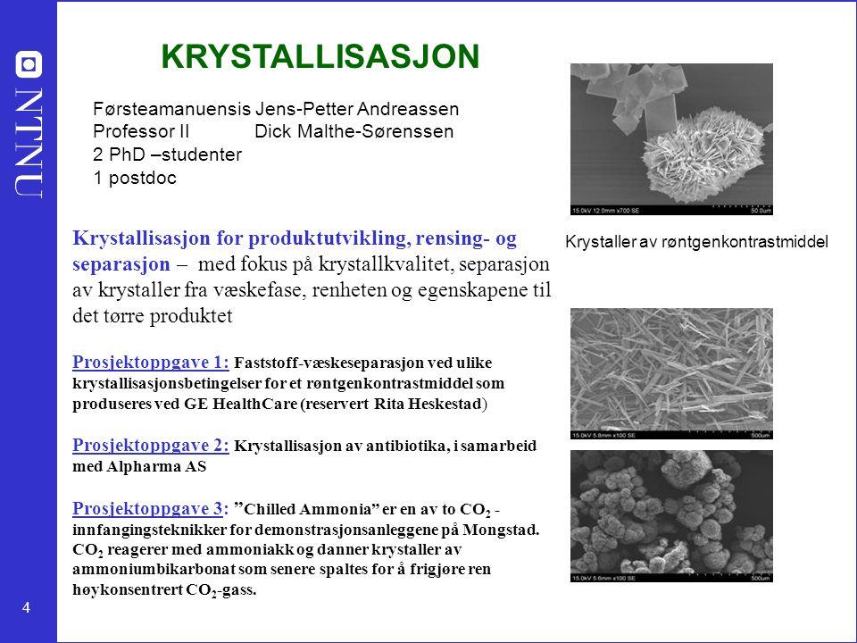 4 KRYSTALLISASJON Førsteamanuensis Jens-Petter Andreassen Professor II Dick Malthe-Sørenssen 2 PhD –studenter 1 postdoc Krystallisasjon for produktutvikling, rensing- og separasjon – med fokus på krystallkvalitet, separasjon av krystaller fra væskefase, renheten og egenskapene til det tørre produktet Prosjektoppgave 1: Faststoff-væskeseparasjon ved ulike krystallisasjonsbetingelser for et røntgenkontrastmiddel som produseres ved GE HealthCare (reservert Rita Heskestad) Prosjektoppgave 2: Krystallisasjon av antibiotika, i samarbeid med Alpharma AS Prosjektoppgave 3: Chilled Ammonia er en av to CO 2 - innfangingsteknikker for demonstrasjonsanleggene på Mongstad.