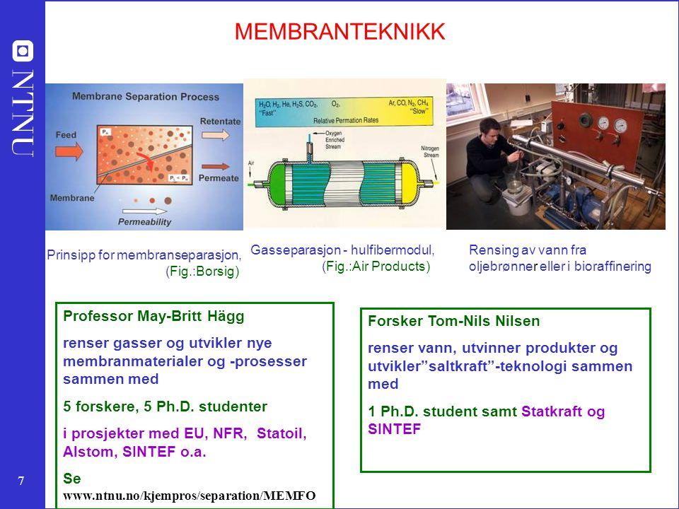 8 Membranforskning i MEMFO May-Britt Hägg; forskningsgruppe: 10 personer 1Rensing av drivhusgasser (CO 2, VOC, SF 6..) og oppgradering naturgass 2Fornybar energi (H 2, oppgradering av biogass) 3Rensing av aggressive gasser (Cl 2, HCl, SO 2 …) 4Simulering av miljøvennlige membranprosesser for energioptimalisering 5Nytt område: membraner i bioprosesser (biodiesel, bioethanol) 6Membran hulfiberspinning Fokus for forskningen er: MATERIALUTVIKLING & TRANSPORTPROSESSER gjennom MEMBRANENE Skjematisk figur som viser prinsippet for en CO 2 - selektiv hulfiber membran.