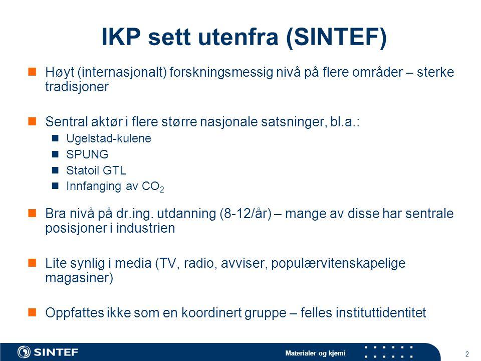 Materialer og kjemi 2 IKP sett utenfra (SINTEF) Høyt (internasjonalt) forskningsmessig nivå på flere områder – sterke tradisjoner Sentral aktør i fler