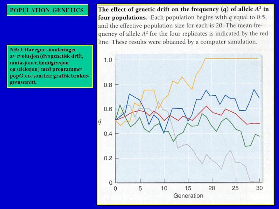 POPULATION GENETICS NB: Utfør egne simuleringer av evolusjon (dvs genetisk drift, mutasjoner, immigrasjon og seleksjon) med programmet popG.exe som har grafisk bruker- grensesnitt.