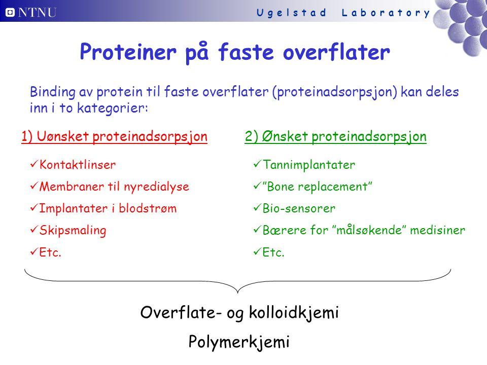 U g e l s t a d L a b o r a t o r y Proteinadsorpsjon illustrert: