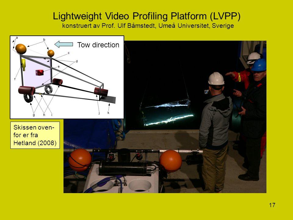 17 Lightweight Video Profiling Platform (LVPP) konstruert av Prof. Ulf Båmstedt, Umeå Universitet, Sverige (Fra Kim Hetland, 2008) Tow direction Skiss
