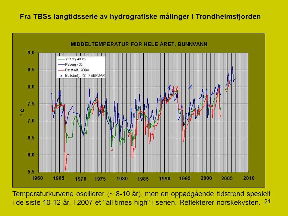 21 Fra TBSs langtidsserie av hydrografiske målinger i Trondheimsfjorden Temperaturkurvene oscillerer (~ 8-10 år), men en oppadgående tidstrend spesiel