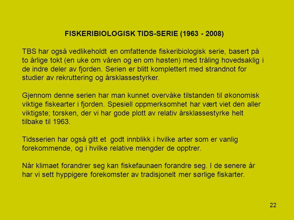 22 FISKERIBIOLOGISK TIDS-SERIE (1963 - 2008) TBS har også vedlikeholdt en omfattende fiskeribiologisk serie, basert på to årlige tokt (en uke om våren