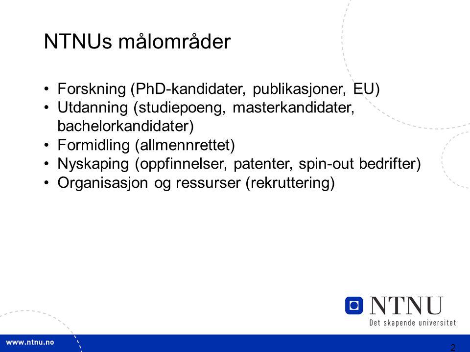 3 NTs rolle Utvikle internasjonalt fremragende fagmiljøer Ivareta et nasjonalt ansvar innenfor NT Bidra til nasjonale prioriteringer innenfor NT