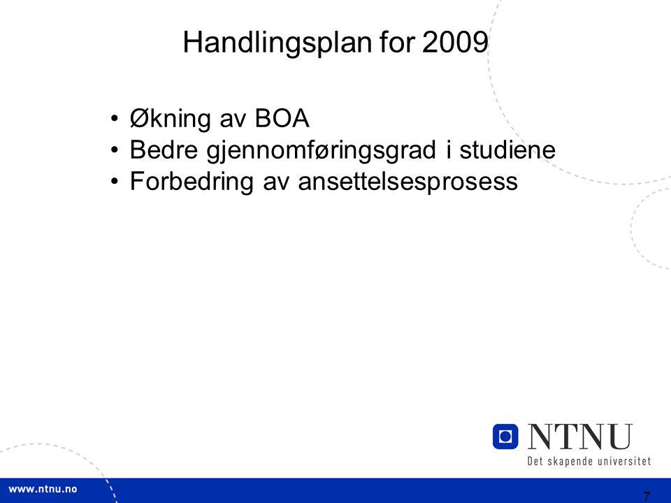 7 Handlingsplan for 2009 Økning av BOA Bedre gjennomføringsgrad i studiene Forbedring av ansettelsesprosess