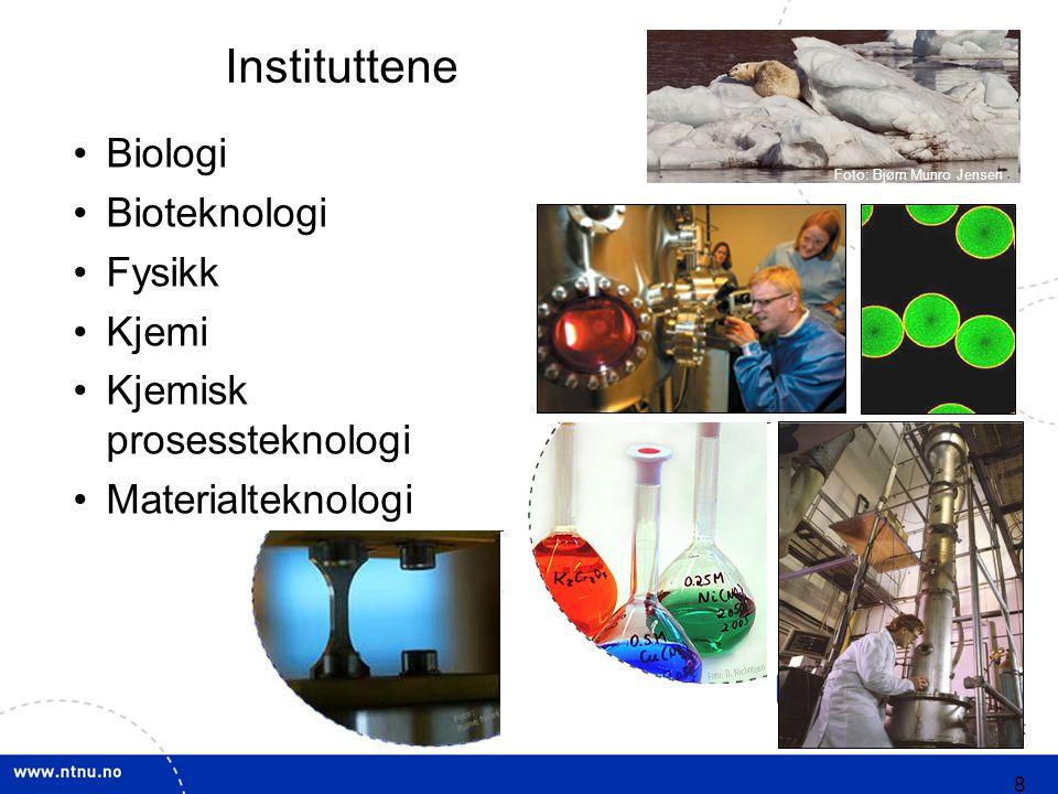 8 Biologi Bioteknologi Fysikk Kjemi Kjemisk prosessteknologi Materialteknologi Instituttene Foto: Bjørn Munro Jensen